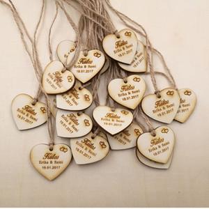 Étiquettes de faveur de mariage en gros-personnalisé, étiquettes de faveur de douche nuptiale rustique merci étiquettes de mariage coutume économiser la date Tags en bois