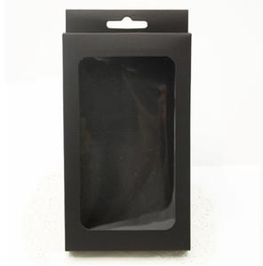 3 Größen schwarz Kraftpapier Box mit PVC-Fenster für Handy-Fall, Einzelhandel Telefon Fall Verpackung Box, Universal-Telefon-Box