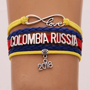 The World Cup Gifts Infinity Love COLOMBIA RUSSIA Pulsera 2018 Soccer Charm Leather Wrap Deporte Pulseras Brazaletes