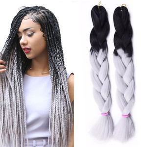 Ombre Xpression Braiding Hair Two Tone Jumbo Crochet Braids Synthetic Hair Extensions 24 Inches Box Braid 100% Kanekalon Braiding Hair