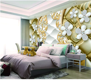 Customized Retail Shuttle Tipo Bottom Gold Rim Argento Bianco Petali Indoor Wallpaper Pittura murale decorativo