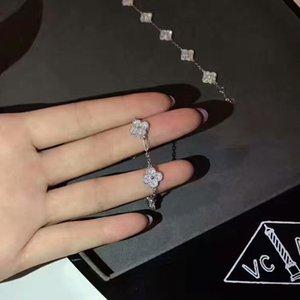 100% 925 pulsera de plata de ley de arranque con mini flores y diamantes se adapta al estilo europeo joyería del encanto de la joyería pulsera PS envío libre