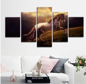 Pferd Leinwand Kunst Bild 5 Stück Moderne Malerei Wand Gemälde Drucke auf Leinwand Gemälde Custom und Großhandel