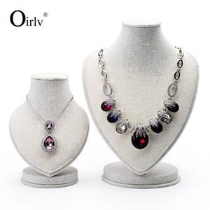 Oirlv Linen Mannequin Bust Jewelry Necklace Colgante Soporte para Exhibidor para Trad Showcase Exhibition
