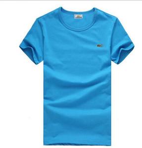Camisa de marca homens Crocodilo Bordado tops engraçado manga Curta t-shirt dos homens 100% camiseta de Algodão dos homens t-shirts de moda de Alta Qualidade