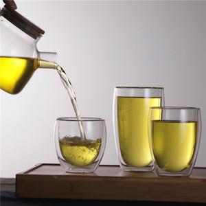 250ML 350ML 450ML Double Wall Heat Resistance Glass Cup Double Wall Fruit Juice Coffee Mug Transparent Tea Cups