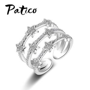 Patico ريال 925 فضة خواتم رومانسية المتلألئة زركون كريستال الزركون ستون نجوم مجوهرات للنساء هدية لطيفة
