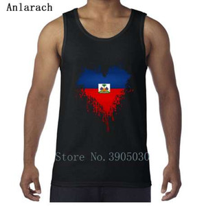 Bandera haitiana Dripping Heart Chaleco Custom Euro Size XS-2xl Natural Camiseta sin mangas 2018 Ropa mejor Anlarach Fit
