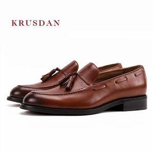 Mabaiwan Neue Quaste Männer Echtes Leder Handgefertigte Hausschuhe Kleid Schuhe Business Hochzeit Schuhe herren Loafers Britischen Rauchen Wohnungen