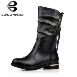 Bonjomarisa 2018 kış büyük boy 34-42 yeni pilili siyah orta buzağı botlar kadın sıcak kürk çizmeler kadın loe topuklu ayakkabılar kadın
