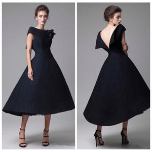 2021 Elegant Black Krikor Jabotian Prom abito da sera Abiti corti Appliques Slim Abiye Dubai caftano musulmana del partito degli abiti di Modest
