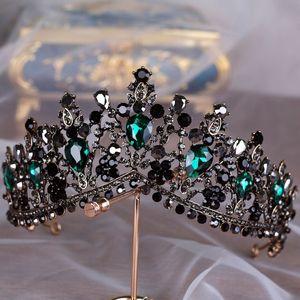 KMVEXO Tiaras de Cristal Verde Europeu Do Vintage Preto Strass Pageant Coroa Barroca Nupcial Do Cabelo Do Casamento Jóias Acessórios Presente S918