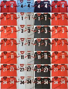 Geórgia Bulldogs 98 Blankenship 1 Sony Michel 3 Roquan Smith 11 Fromm 7 Swift 27 Chubb 34 Herchel Walker 4 Hardman College Futebol Jersey