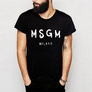 Mens MSGM Letters camiseta camiseta ropa verano manga corta moda negro blanco gris camiseta