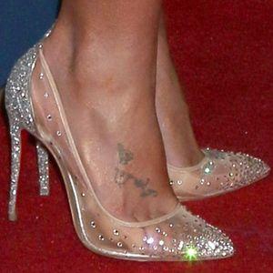 Frauen Pumps Sexy Prom Strass Hochzeit Schuhe Braut High Heels Spitz Schuhe Party Mesh Transparente Schuhe Frau