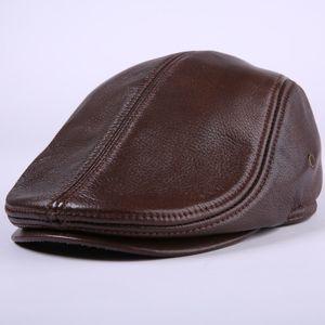 جلد البقر جلد طبيعي موزع الصحف قبعة منتصف العمر ورجل يبلغ من العمر خمر قبعة مسطحة قبعة حماية الأذن قبعة البيريه