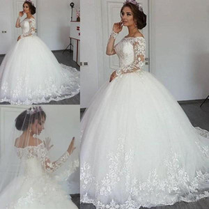 2018 Luxury Lace Ball Gown Wedding Dresses Off Shoulder Long Sleeve Sweep Train Bridal Gowns With Lace Applique Plus Size Wedding Gowns
