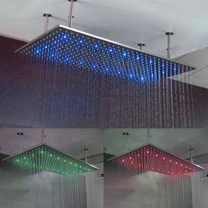 Luxus Badezimmer LED decke Duschkopf Zubehör SUS304 500 * 1000mm Super Big Rain Shower Mit Festen Duscharmen