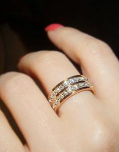 Sıcak Takı kristal Titanyum Yüzük için düğün gül altın yüzük İki Satırlar Gümüş kaplama shinning Zirkon Yüzük kadın için