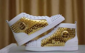 2017 Nuevo Diseño Marca Remaches Zapatos Casuales Para Hombres y Mujeres, Diseñador Pareja Rojo Bottom Sneakers High Top Studded Males Mujeres Zapatos Planos
