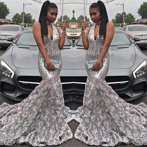 2018 Splendida Silver Mermaid Prom Dresses Profondo scollo av Paillettes Top Handmade Flower African Black Girls Evening Party abiti BA7968