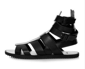 İtalyan Tarzı Erkek Sandalet Gladyatör Hakiki Deri Ayak Bileği Patik Flats Strappy Yaz Rahat Roma Plaj Sandalet Erkekler Için