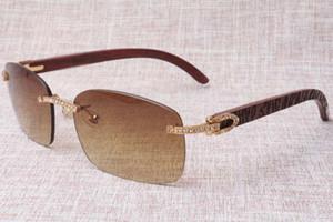 2019 de alta calidad de patrón tallado a mano gafas sin marco, 8.200.759 única de diseño de diamante, modelo oro de la moda gafas de sol de madera del templo