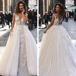 겸손한 Overskirts 분리형 기차 캡 슬리브 2018 웨딩 드레스 레이스 Appliqued 보헤미안 해변 신부 가운 Country vestido de novia