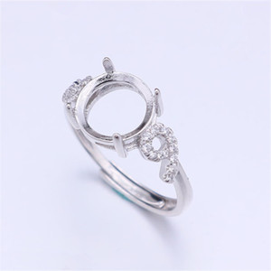 Semi Mount Ring Settings For Round Stone With Side Number Nine CZ 8x8mm Solid 925 Sterling Silver Women Jewelry Bride Wedding Gifts