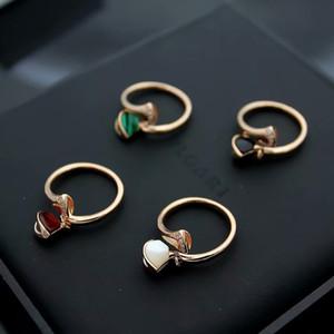 New Fashion Lady 316 Titan Stahl Rot Schwarz Onyx Malachit Perlmutt Diamant Hochzeit Engagement 18 Karat Gold Überzogene Offene Ringe Freie Größe