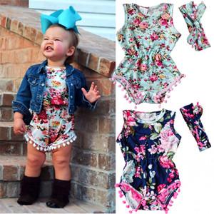 Cute Baby Цветочные Ползунки + Повязка для Детей One Pieces Маленькая Детская Одежда Babys Одежда 2017 Горячий Продавать 3 Цвета Высокое Качество 0-24 М