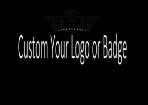 Iced Out Bling bling Zircon Design Logo personnalisé et badge Chaîne de collier pendentif lettre zircon cubique