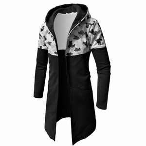 Hoodie Male Cardigan 2018 Hip-Hop Camo Stitching Hoodies Men Sweatshirt Hoodies Mens Hooded Plus Size Coat Jacket XXXL F66