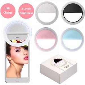 New Mobile Phone selfie LED Ring Flash Lente Beleza Fill Light Lamp Clipe portátil para câmera de telefone celular Smartphone