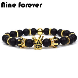Nine forever king crown charm bracelets for women natural stone  bracelet men jewelry pulseira masculina feminina bileklik