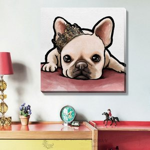 High Quality Handpainted & HD Print Modern Abstract Animal Art Oil Painting Cute Dog Pet On Canvas Home Decor Wall art Multi Size a152