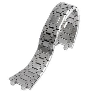28 millimetri di ricambio argento cinturino cinghia di polso della fascia solido collegamento in acciaio inox di sicurezza fibbia a farfalla per