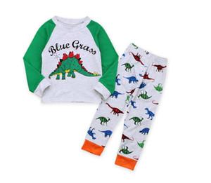 Boy Uzun Kollu Dinozor Pijama Set Bebek Mektubu Baskı Eğlence Giyim Takım Elbise Çocuk Giyim Elbise Iki Adet CN G037