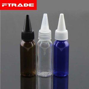 Bottiglia di plastica della colla vuota 1oz / 30ml, bottiglia dell'animale domestico con 3Colors Caps di cima di torsione, cappuccio superiore della bocca appuntita 50Pcs / Lot