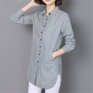 VogorSean 2020 mulheres listrada blusa solta Casual shirt Plus Size Tops Primavera Outono manga comprida Escritório das senhoras Roupa