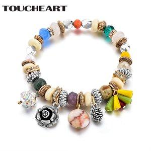 TOUCHEART 2018 Handgemachte Mischfarben Perlen Handgefertigt Boho Armband Werbegeschenk Armband Armreifen Charms Für Frauen SBR170044
