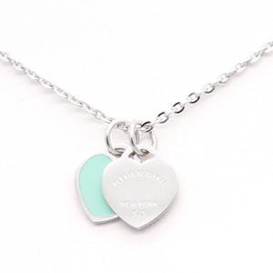 New Stainless Steel Chain Enamel Double Heart Love Necklaces women necklace Fashion Trendy Paired Suspension Pendants Model Mixed 9 colors