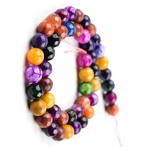 186 шт. / Лот 6 мм Натуральный Камень FACETED АГАТ Бусы многоцветный Круглый полудрагоценных природных драгоценных камней DIY Ювелирных Изделий