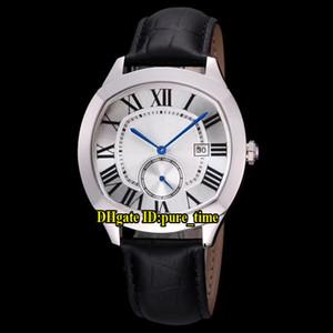 Günstige New 40mm Antrieb De Datum WSNM0004 Asian 1731 Automatischer Weiß Herren-Uhr-Silber-Stahl-Gehäuse Lederband High Quality Herrenuhr