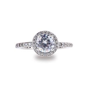 Monili del regalo delle donne Anelli reali del diamante della CZ dell'argento sterlina 925 per l'insieme originale della scatola di eleganza classica di Pandora