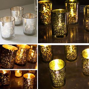 Taza de cristal pequeña Candelabro Plateado Plata Oro Verde Sostenedor de vela Fiesta Boda Cumpleaños Barra Decoración para el hogar NO CON VELA WX9-314