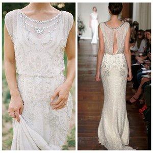 2021 luxueux bling bling sirène robes de mariée perles paillettes brillant jardin Jenny packham paillettes dentelle pleine longueur robes de mariée pays