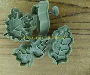 50sets/lot 4pcs kit DIY Tree leaf Cookies Cuer Spring Pressing Mould Fondant Mold Cake Decorating Tools