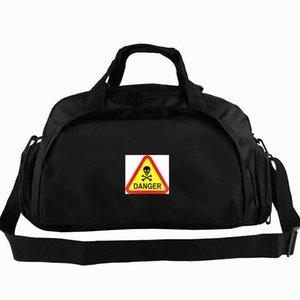 Gefahr Warnung Seesack Chemie Vorsicht Schädel Zeichen Tote Mark Rucksack Freizeit Gepäck Sport Schulter Duffle Outdoor Sling Pack