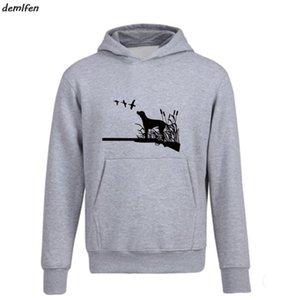 New Huntings Dog Ducks Gun Hunters Felpa con cappuccio Demlfen Funny Men Fleece Hoody Felpa Casual Casual Cool Top